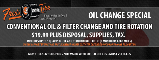 $19.99 Conventional Oil, Filter Change and Tire Rotation Special