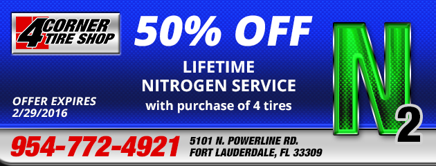 50% Off Lifetime Nitrogen service with purchase of 4 tires