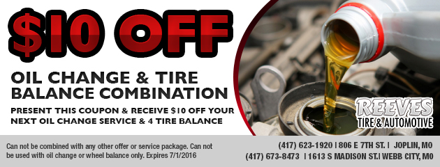 $10.00 OFF Oil Change & Tire Balance Combination