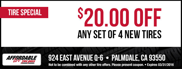 $20 Off Any set of 4 New Tires