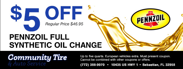 $5 Off Pennzoil Full Synthetic Oil Change