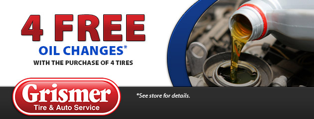 4 Free Oil Changes with the purchase of 4 tires