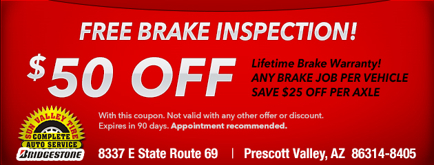 Free Brake Inspection and $50 Off a Brake Job