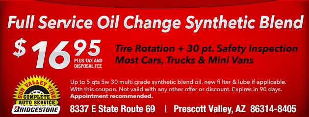Full Service Oil Change Synthetic Blend