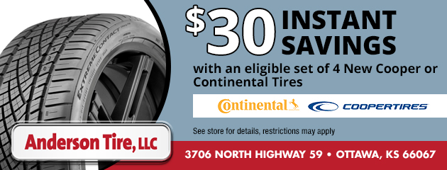 $30 Instant Savings on Select Continental and Cooper Tires