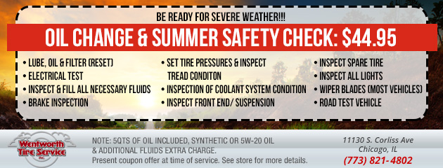 OIL CHANGE & SUMMER SAFETY CHECK - $44.95
