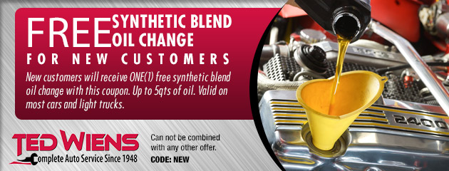 Free Synthetic Blend Oil Change for New Customers!