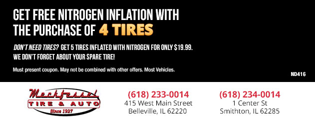 Get FREE Nitrogen Inflation with the purchase of four tires!