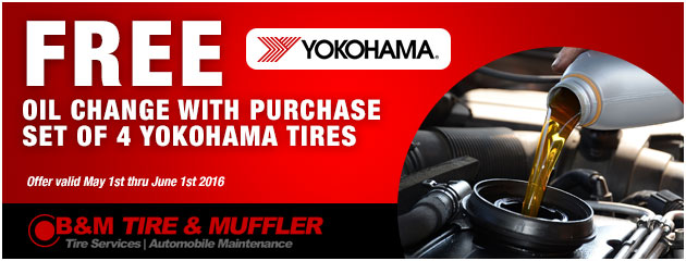 Free Oil Change with purchase set of 4 Yokohama Tires