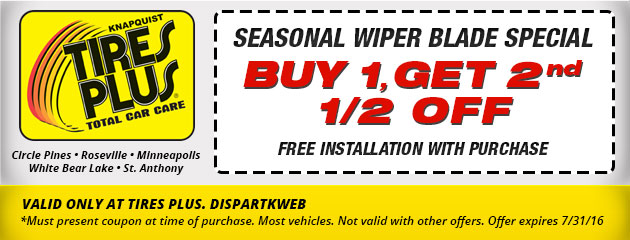 Buy One, Get One 1/2 Off Wiper Blades Special