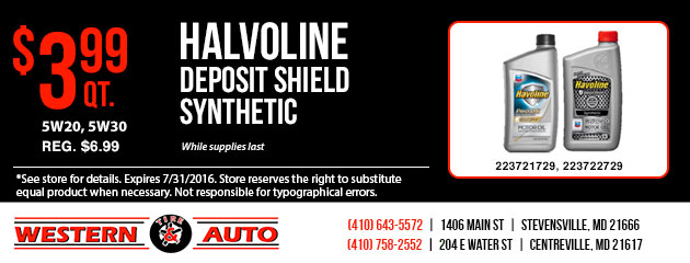 Havoline Deposit Shield Synthetic - $3.99 qt.