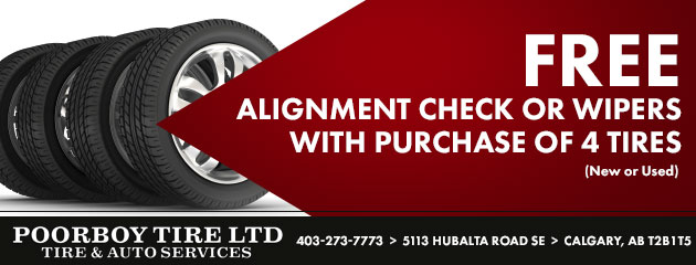 Free Alignment Check or Wipers with purchase of 4 Tires