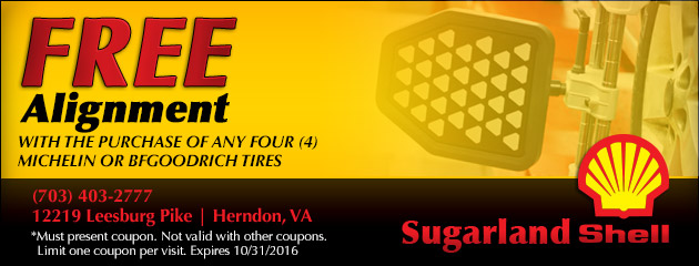 Free Alignment with the purchase  of any 4 Michelin or BFgoodrich Tires