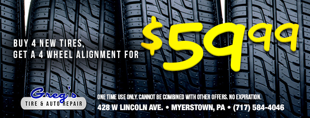 Buy 4 new tires, Get an Alignment for $59.99