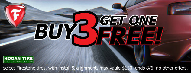 Buy 3, Get 1 FREE on select Firestone Tires