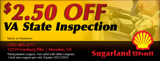 $2.50 off VA State Inspection
