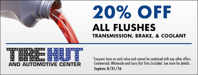 20% Off All Flushes: Transmission, Brake, & Coolant