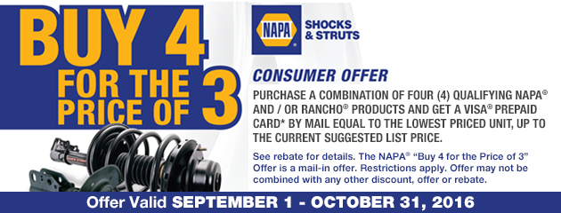 Buy 4 for the price of 3 NAPA® Rebate