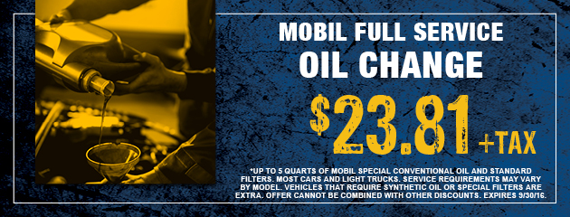 Mobil Full Service Oil Change - $23.81 +tax