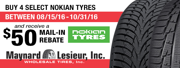 Receive a $50 Mail-in Rebate on Nokian Tyres when you Buy 4 select Nokian Tyres
