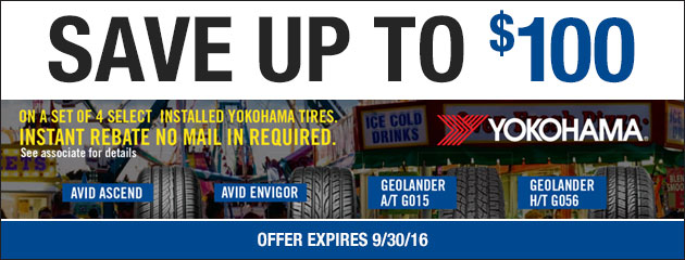 State Fair Tire Sale! - Save up to $100 on Select Yokohama Tires