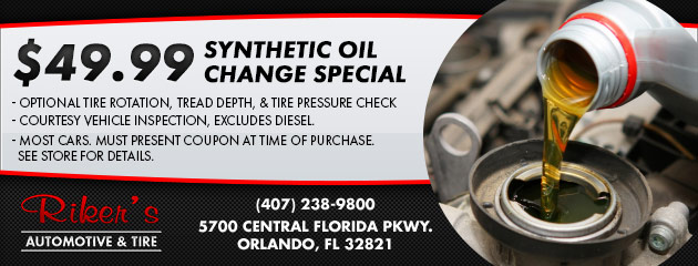 $49.99 Synthetic Oil Change Special