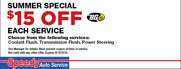 Summer Special - $15 Off Each Service