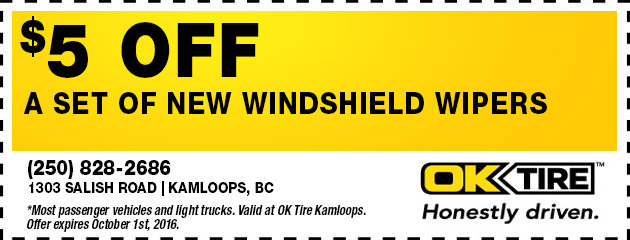 $5 Off a New Set of Windshield Wipers