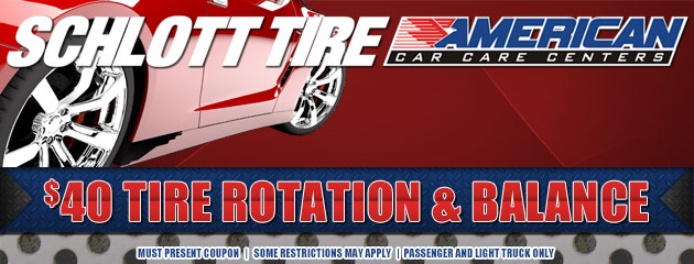Tire Rotation and Balance special $40