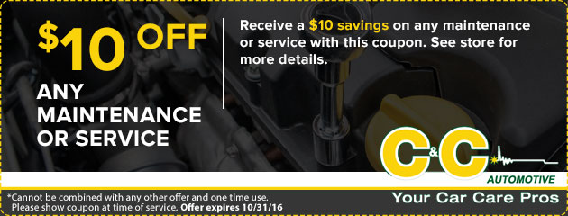 $10 off any maintenance or service