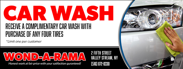 Complimentary Car Wash with Purchase of any four tires