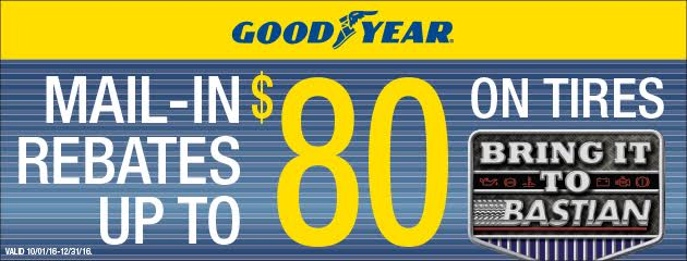 Mail-in Rebates up to $80 on Goodyear Tires!