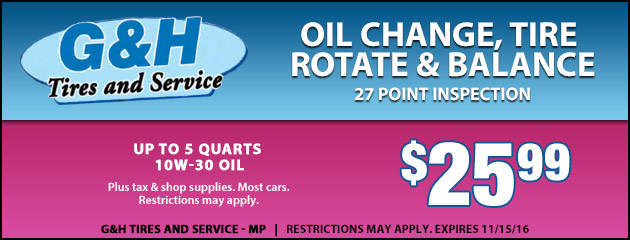 Oil Change, Tire Rotate and Balance with a 27 Point Inspection