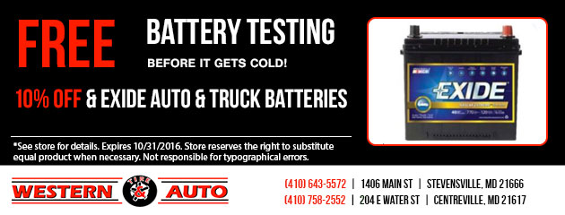 10% Off Exide auto and Truck Batteries