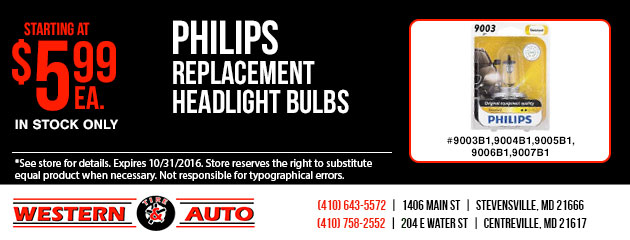 PHILIPS Replacement Headlight Bulbs