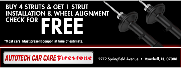 Buy 4 Struts and Get 1 Strut Installation and wheel Alignment Check for Free