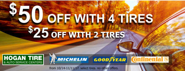 Save up to $50 OFF with 4 tires, $25 OFF with 2 Select Tires