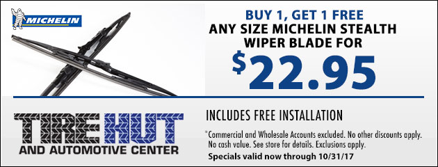 Buy 1, Get 1 50% OFF Any Size Michelin Stealth Wiper Blade for $19.95
