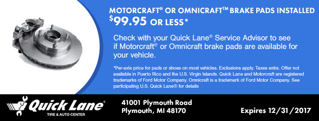MOTORCRAFT® or OMNICRAFT BRAKE PADS INSTALLED $99.95