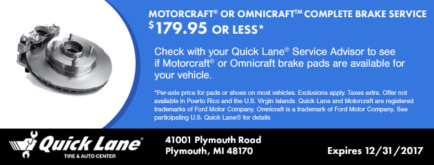 MOTORCRAFT® or OMNICRAFT COMPLETE BRAKE SERVICE $179.95