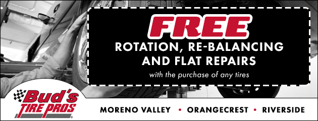 Free Rotation, Re balancing, Flat Repairs with the purchace of any tires