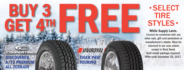 Buy 3 get 4th Free On Select Tires