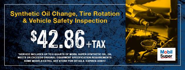 Synthetic Oil Change, Tire Rotation and Vehicle Safety Inspection Special