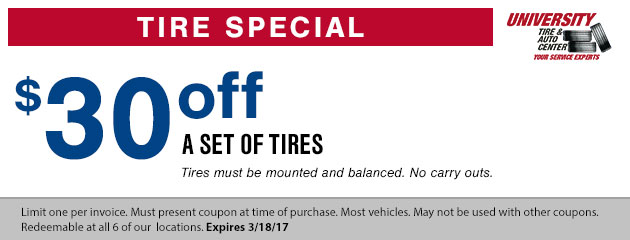$30 off any set of tires