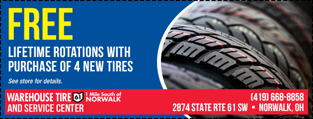 FREE lifetime rotations with purchase of 4 new tires