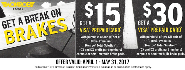 Monroe - Get a Break on Brakes Promotion