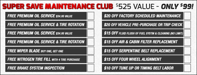 Become a part of the Super Save Maintenance Club Today!