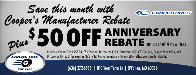 $50 off ANNIVERSARY REBATE on a set of 4 new tires