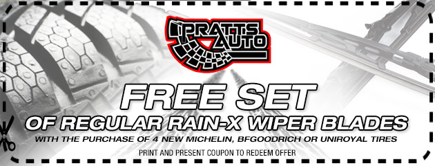 Free Set of regular Rain-X wiper blades with the purchase of 4 New Select Brand Tires