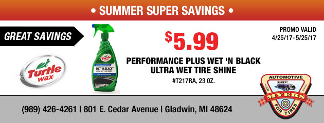 $5.99 Performance Plus Wet n' Black Ultra Wet Tire Shine